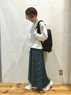 niko and…☆レーヨンレトロ柄マキシスカート グリーンM
