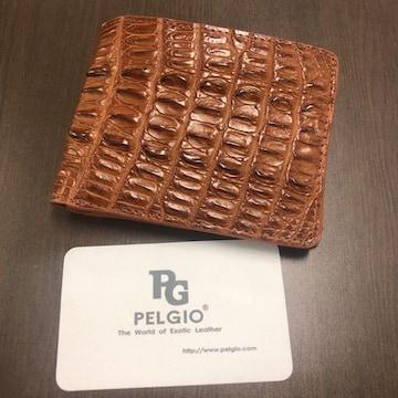 【新作】PELGIO 本革 クロコダイル 短財布 二折 ベージュ