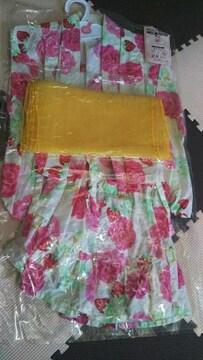 浴衣3点セット 1〜2歳用 白地に花柄