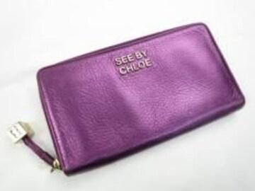 E10354■レア正規本物シーバイクロエ■ラウンド財布