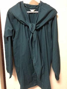大きいサイズ 6L グリーン スカーフデザインシャツ