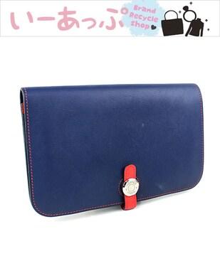 エルメス 長財布 二つ折り財布 ドゴンGM ネイビー×赤 k418