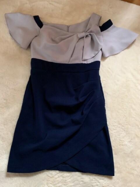 ジュエルズJEWELSネイビー×アイスグレーXLドレス美品 < 女性ファッションの
