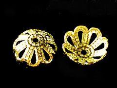 アクセサリーキャップ菊型座金【ゴールド】6ミリ50個セット