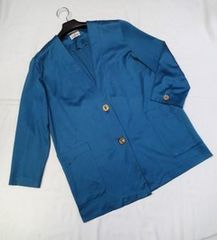 ◇Lana Tarue/綿100% 薄手 ノーカラージャケット 日本製 青緑色