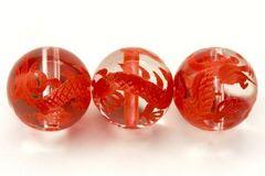 皇帝の五爪龍☆水晶赤彫り12mmビーズ