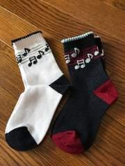 新品ピアノ音符柄可愛いクルーソックス2足組15-20cm靴下