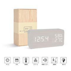 置き時計 LED 目覚し時計 大音量 木目調  ホワイト・ホワイト
