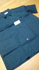 Dickies半袖ワークシャツ 紺ネイビー サイズ3XL XXXL →4XL位XXXXL