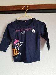 紺に犬模様の長袖Tシャツ90