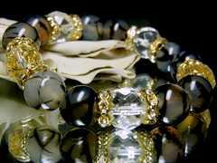 64面ダイヤカット水晶§ドラゴンアゲート黒龍紋§12ミリ§花金ロンデル