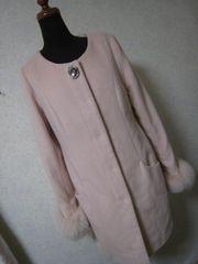 セシルマクビー/ピンクのビジュー付きコート袖フォックスファーリアル美品