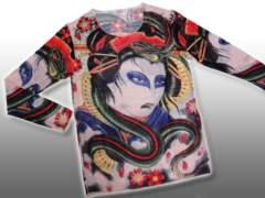 【刺青風】超リアルプリントフィットシャツ蛇女【3】
