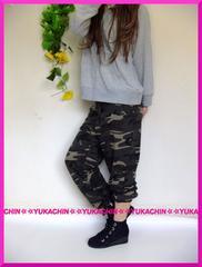 春新作◆大きいサイズ3L迷彩柄◆裾ゴム◆総ストレッチスエットパンツ