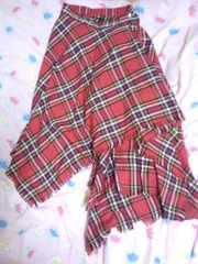 セクダイ 堂本剛 着用 巻きスカート 赤チェック ユニセックスサイズアシメトリー 男女兼用