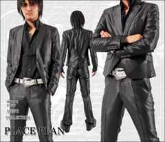 【Place plan】ショート丈光沢地シャンブレースーツ■ブラックS