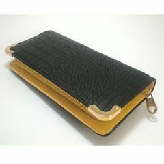 【大幅値下げ】キュ〜ト★クロコダイル型押し長財布(ブラック)