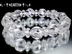 天然石★10ミリSライン彫り水晶&ボタン水晶数珠