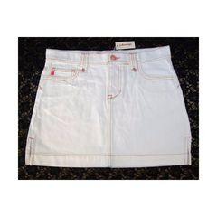 新品 ステッチ デザイン 白 デニム ミニスカート Sサイズ