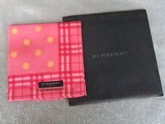 新品◆バーバリーハンカチ◆黄色水玉柄 赤チェックふち 赤ピンク