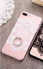 新品 iPhone7 iPhone8用 大きなお花のケース ホワイト�F