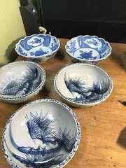 骨董。藍染鉢、二種、五店。
