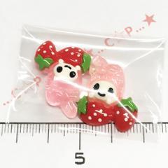 22*�@スタ*デコパーツ2個*苺とウサチャン*薄ピンク*35