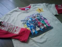 ★戦隊デカレンジャー柄半袖&長袖Tシャツ/2枚セット120�a3way