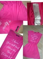 DURAS新品ピンクTシャツワンピ大人気前英文ロゴ