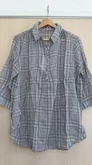 新品タグつき*チェック柄プルオーバーシャツ LL/ゆったりサイズ グレー系