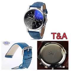 腕時計 時計 アナログ メンズ レザー 革ベルト ネイビー