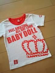中古Tシャツ110赤ベビードールBABYDOLLベビド
