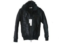 半額以下★合皮切替中綿ジャケット 黒