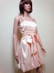 キャバ嬢…光沢プリーツ&紐リボンのバルーンドレス☆3点で即落