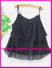 秋新作◆大きいサイズ3Lブラック◆シフォンフリル◆キャミチュニック