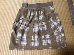 柄物ミニスカート ベージュ×ホワイト 38 日本製