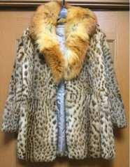 美品☆貴重なヒョウ毛皮コート☆数回のみ着用の美品