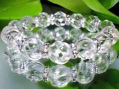 パワーストーン☆天然石!!スクリュー螺旋水晶12ミリ§銀ロンデル§数珠ブレスレット