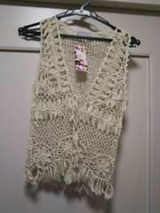 新品タグ付きMフリンジ付き ベージュ かぎ針編み麻ニットボレロ
