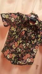 新品◆ヒロミチ ナカノ◆半袖 花柄シフォンブラウス◆140