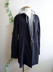 【新品】レイヤード風パーカーシャツワンピース《黒/3L》大きいサイズ
