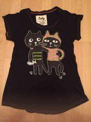 LALACUB キラキラ猫猫Tシャツ 黒