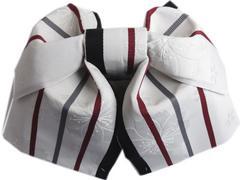 簡単浴衣ゆかた柄結び帯付け帯作り帯淡グレー色地八重桜ライン 日本製
