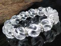 トルネード水晶14ミリ銀ロンデル数珠
