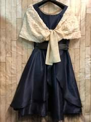 新品☆13号落ちないケープ付パーティワンピ素敵ドレス紺☆b763