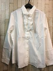 新品☆19号3L取り外しフリル♪白シャツ スーツにも☆n877