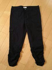 七分丈*裾サイドシャーリング*カーゴ風パンツ*ブラック