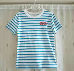 Right-on購入◆めがねボーダーTシャツ◆ブルー*140