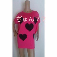 新品☆フリーサイズ☆ドルマンモモンガ半袖ハート柄Tシャツ★ショッキングピンク×ブラック