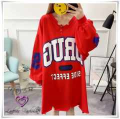 新作★大きいサイズ2L〜6L Bigロゴ&袖ナンバーロゴTワンピ*赤